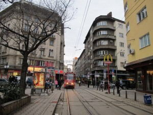 A street in downtown Sofia.