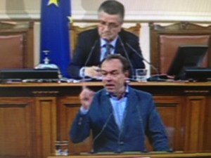 Hristo Monov shouting in Parliament